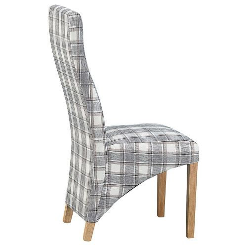 Trentham Straight Back Chair Check Cappuccino